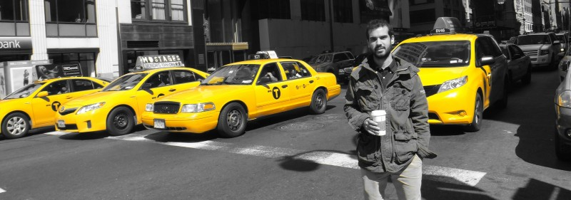Jordi Capdevila Espitia with Yellow cabs of New York City
